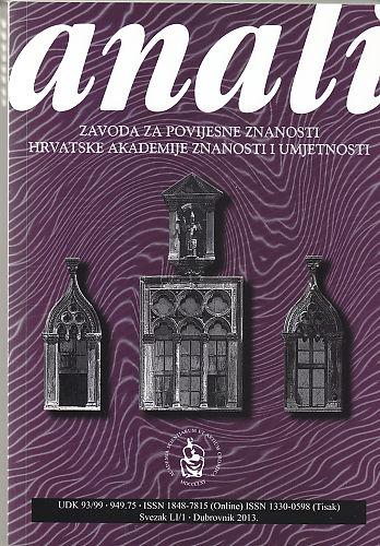 Sv. 51/1 (2013) : Anali Zavoda za povijesne znanosti Hrvatske akademije znanosti i umjetnosti u Dubrovniku