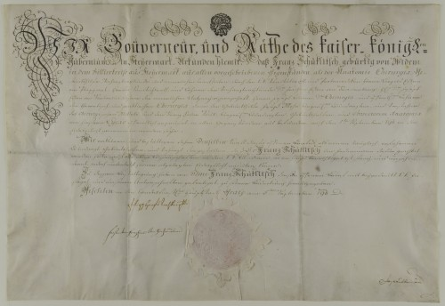 Diploma liječnika Franza Schucklitscha
