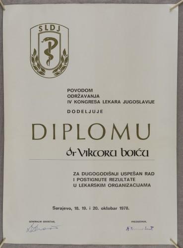 Počasna diploma dr. Viktoru Boiću