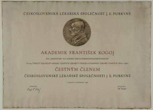 Povelja počasnog člana čehoslovačkog liječničkog društva J.E. Purkyne - Povelja dodijeljena akademiku Franji Kogoju