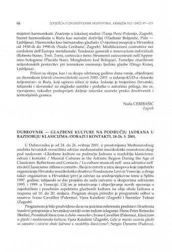 Dubrovnik - Glazbene kulture na području Jadrana u razdoblju klasicizma: odrazi i kontakti, 24.-26. 5. 2001.