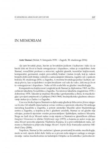 Ante Stamać (Molat, 9. listopada 1939 - Zagreb, 30. studenoga 2016) : [in memoriam]