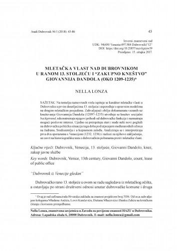 """Mletačka vlast nad Dubrovnikom u ranom 13. stoljeću i """"zakupno kneštvo"""" Giovannija Dandola (oko 1209-1235) / Nella Lonza"""