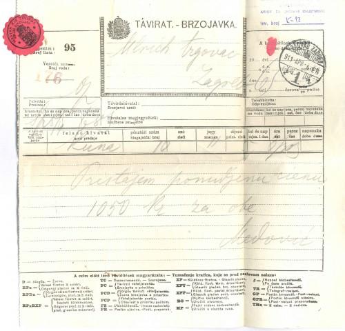 Brzojav Mate Celestina Medovića Antunu Ullrichu, Kuna, 6.4.1911.