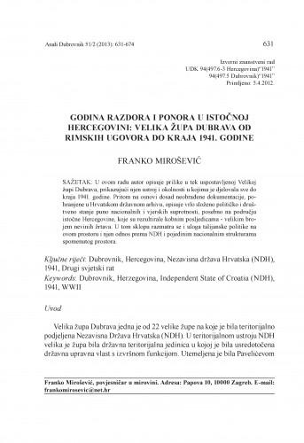 Godina razdora i ponora u istočnoj Hercegovini: Velika župa Dubrava od Rimskih ugovora do kraja 1941. godine / Franko Mirošević