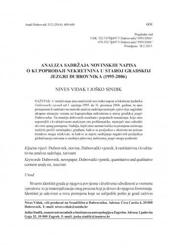 Analiza sadržaja novinskih napisa o kupoprodaji nekretnina u staroj gradskoj jezgri Dubrovnika (1995-2006) / Nives Vidak, Joško Sindik