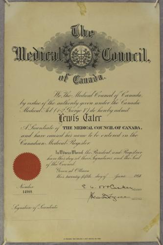 Licenca Lewisa Talera za liječničku praksu u Kanadi