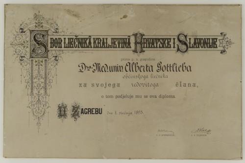 Članska povelja Sbora liečnika Kraljevina Hrvatske i Slavonije - Povelja dodijeljena dr. Albertu Gottliebu