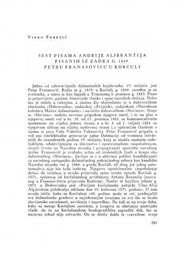 Šest pisama Andrije Alibrantija pisanih iz Zadra g. 1849. Petru Franasoviću u Korčuli