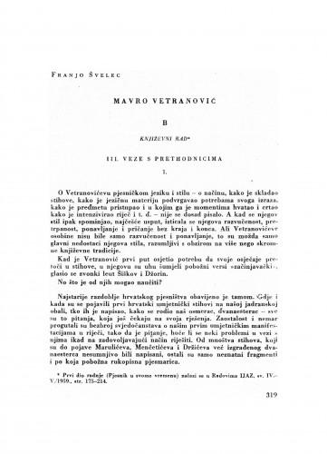 Mavro Vetranović : B. Književni rad