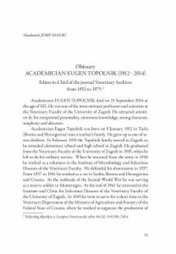 Obituary Akademician Eugen Topolnik (1912-2014) : Editor-in-Chief of the journal Veterinary Archives from 1953-1975