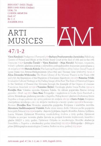 God. 47(2016), br. 1-2 : Arti musices