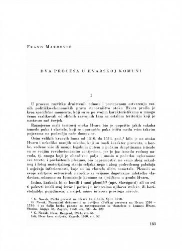 Dva procesa u Hvarskoj komuni