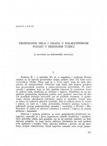 Prožimanje sela i grada u dalmatinskom pojasu u srednjem vijeku : (s osvrtom na dubrovački teritorij)