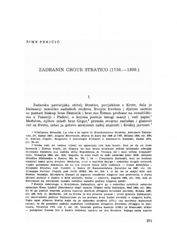 Zadranin Grgur Stratico : (1736-1806)