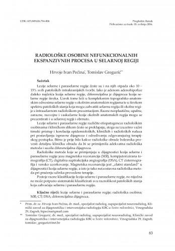Radiološke osobine nefunkcionalnih ekspanzivnih procesa u selarnoj regiji