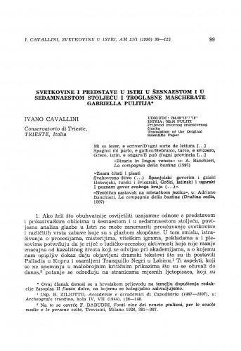 Svetkovine i predstave u Istri u šesnaestom i u sedamnaestom stoljeću i troglasne mascherate Gabriella Pulitija