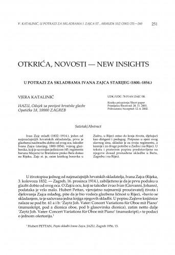 U potrazi za skladbama Ivana Zajca starijeg (1800.-1854.)