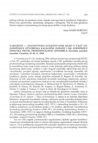 Znanstveno savjetovanje HAZU u čast 125. godišnjice otvorenja kazališne zgrade i 100. godišnjice osnutka prvog profesionalnog ansambla, Varaždin, 19.-20.11.1998.