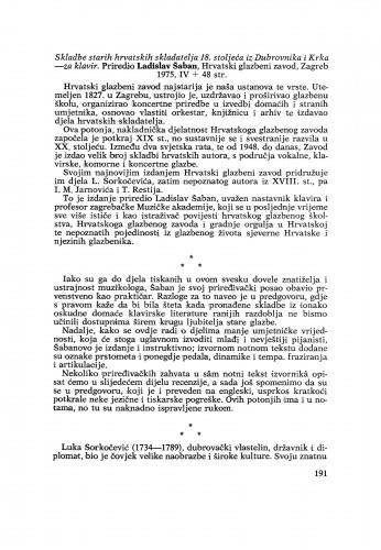 Skladbe starih hrvatskih skladatelja 18. stoljeća iz Dubrovnika i Krka – za klavir