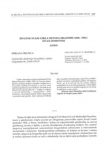 Životne staze Ćirila Metoda Hrazdire (1868.-1926.) izvan domovine : (I. dio)