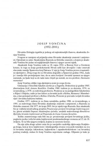 Josip Vončina (1932.-2010.) : nekrolog : Ljetopis