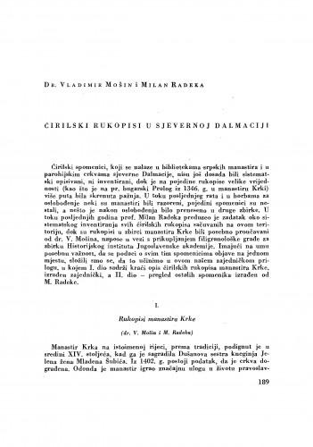 Ćirilski rukopisi u sjevernoj Dalmaciji / Vladimir Mošin i Milan Radeka