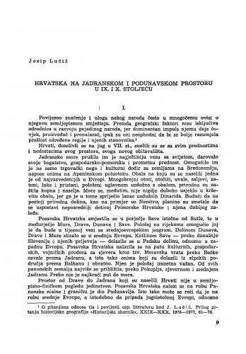Hrvatska na jadranskom i podunavskom prostoru u IX. i X. stoljeću / Josip Lučić