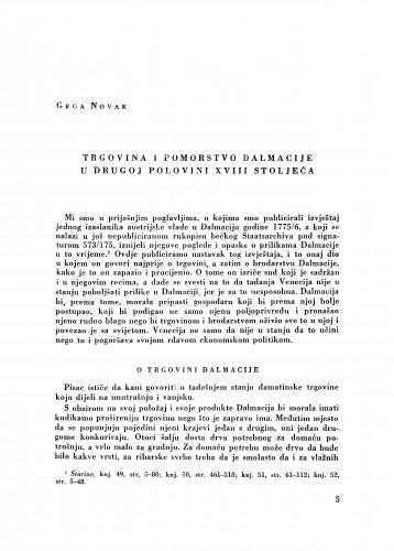 Trgovina i pomorstvo Dalmacije u drugoj polovini XVIII stoljeća / Grga Novak