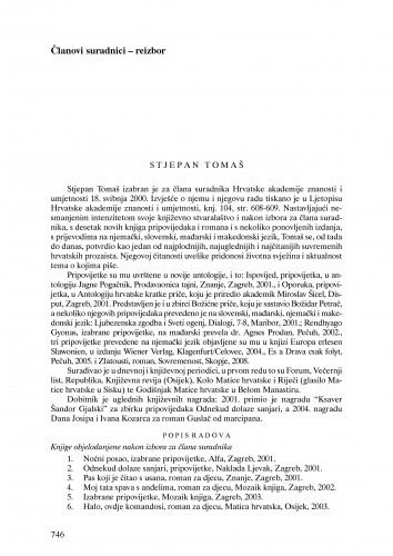 Stjepan Tomaš : Ljetopis