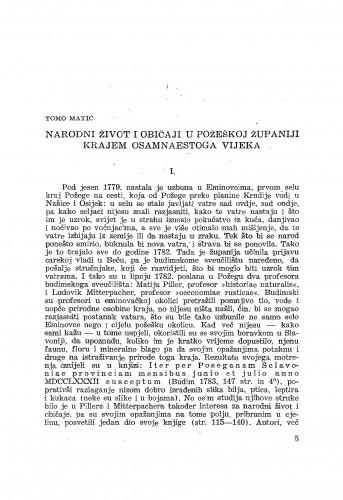 Narodni život i običaji u Požeškoj županiji krajem osamnaestoga vijeka / T. Matić