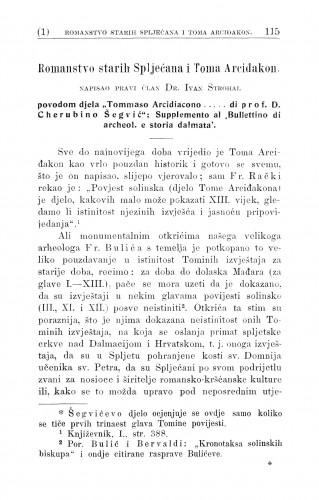 Romanstvo starih Spljećana i Toma Arciđakon / I. Strohal