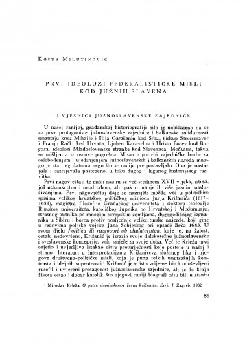 Prvi ideolozi federalističke misli kod Južnih Slavena