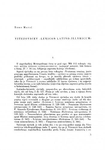 "Vitezovićev ""Lexicon Latino-Illyricum"""