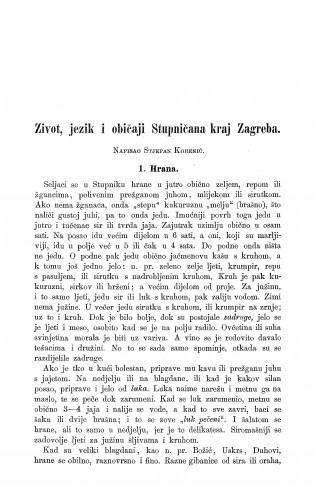 Život, jezik i običaji Stupničana kraj Zagreba / S. Korenić