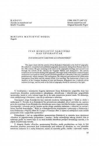 Ivan Kukuljević Sakcinski kao epigrafičar : Radovi Zavoda za znanstveni rad Varaždin