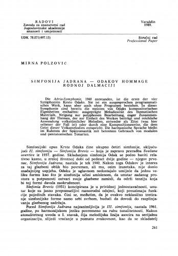Simfonija Jadrana - Odakov hommage rodnoj Dalmaciji : Radovi Zavoda za znanstveni rad Varaždin