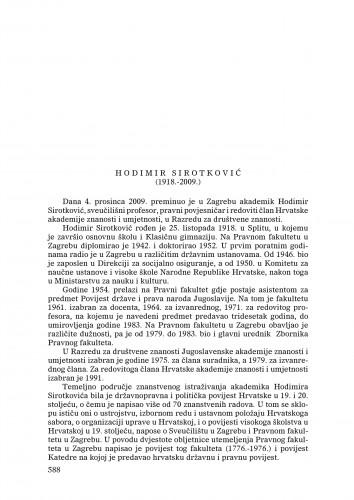 Hodimir Sirotković (1918.-2009.) : [nekrolog] : Ljetopis