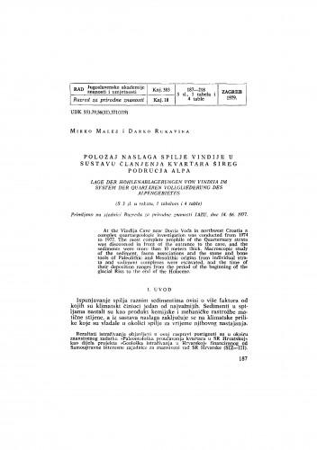 Položaj naslage spilje Vindije u sustavu članjenja kvartara šireg područja Alpa