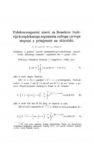 Polukonvergentni nizovi za Besselove funkcije kompleksnoga argumenta nultoga i prvoga stepena s primjenom na skinefekt