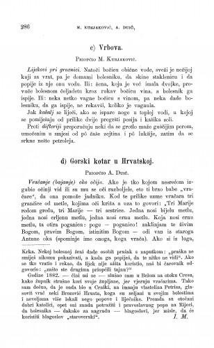 Vrbova ; Gorski kotar u Hrvatskoj : narodno liječništvo : Zbornik za narodni život i običaje