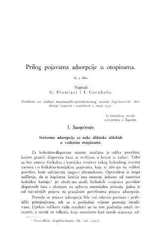 Prilog pojavama adsorpcije u otopinama