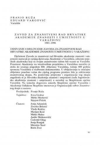 Zavod za znanstveni rad Hrvatske akademije znanosti i umjetnosti u Varaždinu 1983.-1998. : Radovi Zavoda za znanstveni rad Varaždin