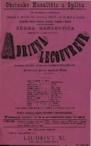 Adriena Lecouvreur Drama u pet činah / od Scrib-a i Legouve-a