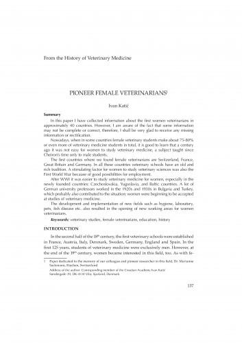 Pioneer female veterinarians : From the history of veterinary medicine : RAD
