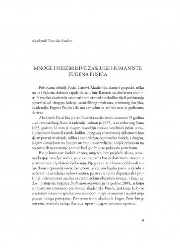 Mnoge i neizbrisive zasluge humaniste Eugena Pusića : Spomenica preminulim akademicima