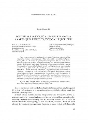 Povijest 19. i 20. stoljeća u djelu suradnika Akademijina Instituta/Zavoda u Rijeci i Puli : Problemi sjevernog Jadrana