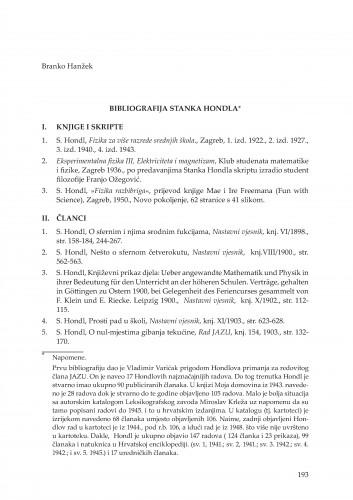 Bibliografija Stanka Hondla : Rasprave i građa za povijest znanosti