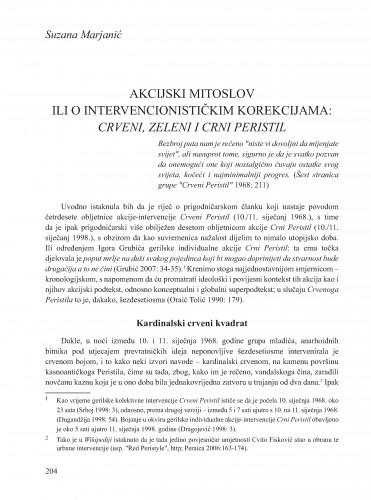 Akcijski mitoslov ili o intervencionističkim korekcijama: Crveni, Zeleni i Crni Peristil : Krležini dani u Osijeku