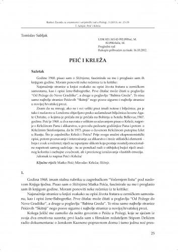 Peić i Krleža : Radovi Zavoda za znanstveni i umjetnički rad u Požegi